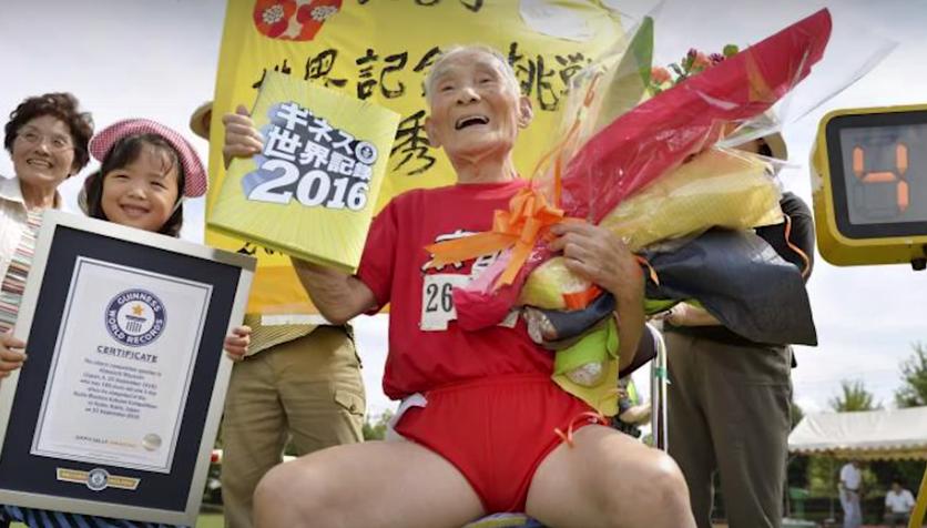 【海外の反応】外国人「この歳でスゴイ・・・」105歳の日本人男性が100メートルでギネス認定